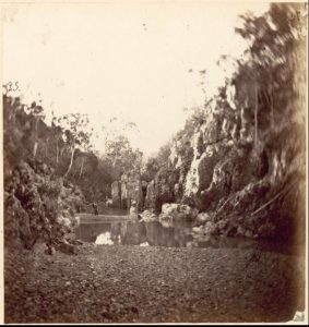 Gold prospecting on the Freestone Creek. Circa 1867. To me, it looks very much like the Blue Pool. Picture: Charles Walter. Source: National Library Collection