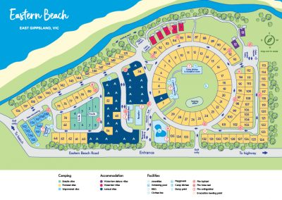 NRMA Eastern Beach Holiday Park, Lakes Entrance Park map