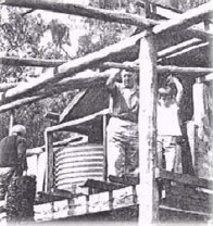 The first Arches was destroyed on either 6 or 7 March 1965 when huge bushfires spread through Gippsland from Glenmaggie to Bruthen, The fires lasted 17 days and burnt over 300000 ha. Some of the family sheltered from the blaze in a nearby mineshaft. This photo shows the second Arches was built soon after. Source: Brian O'Keefe.